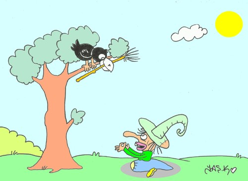Cartoon: witch (medium) by yasar kemal turan tagged witch,crow,broom,fox,cheese