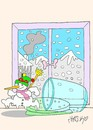 Cartoon: escape  freedom (small) by yasar kemal turan tagged escape,freedom,snowman,love