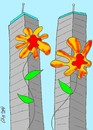Cartoon: innocence (small) by yasar kemal turan tagged flower,innocence,september,11attack,world,trade,centre,american
