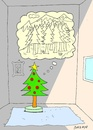 Cartoon: longing (small) by yasar kemal turan tagged christmas,tree,love,longing,forest