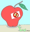 Cartoon: selfishness-pesticides (small) by yasar kemal turan tagged selfishness,love,apple,natural,worm,hormone,pesticides