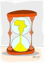 Cartoon: time is shrinking (small) by yasar kemal turan tagged time hunger africa poverty hourglass hours