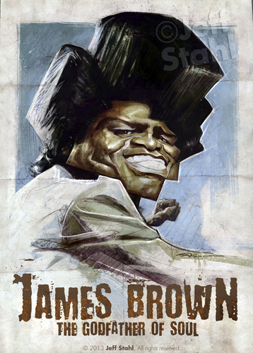 Cartoon: James Brown by Jeff Stahl (medium) by Jeff Stahl tagged stahl,jeff,caricature,illustration,poster,vintage,singer,music,soul,brown,james