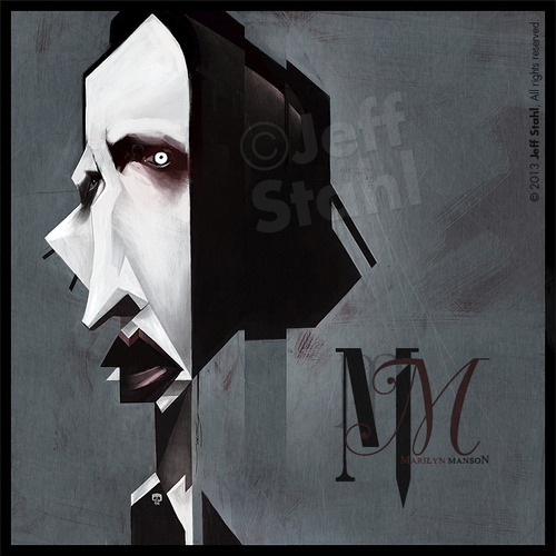 Cartoon: Marilyn Manson by Jeff Stahl (medium) by Jeff Stahl tagged marilyn,manson,goth,gothic,metal,singer,dark,darkart,illustration,caricature,design,digital,painting,jeff,stahl