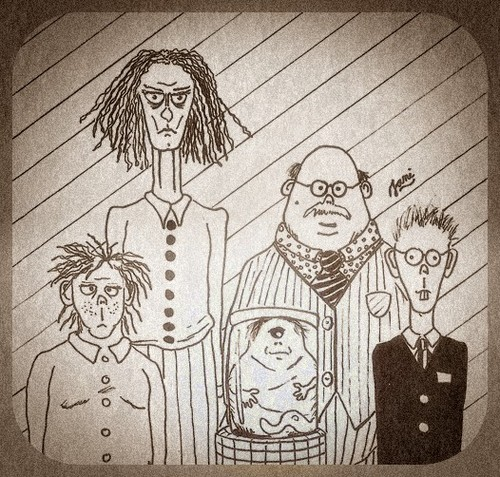 Cartoon: Family Portrait (medium) by Jani The Rock tagged cyclops,family,portrait,horror,deformity