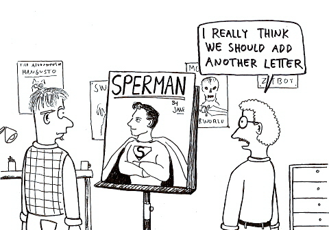 Cartoon: Naming Superman (medium) by Jani The Rock tagged superman,sperm,dc,comic