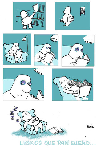 Cartoon: LIBROS DORMIR (medium) by BONIL tagged bonil,libros,dormir,suenio