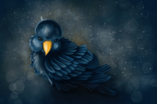 Cartoon: Bird (medium) by alesza tagged bird,digital,painting,illustration,cute,animal,feather