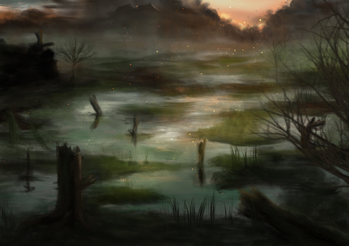 Cartoon: Swampland (medium) by alesza tagged swampland,marsh,marshland,swamp,nature,landscape