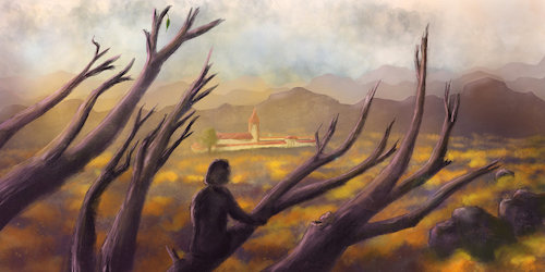 Cartoon: The Promise (medium) by alesza tagged digital,painting,landscape,scenery,art,artwork,atmosphere,nature,illustration,drawing