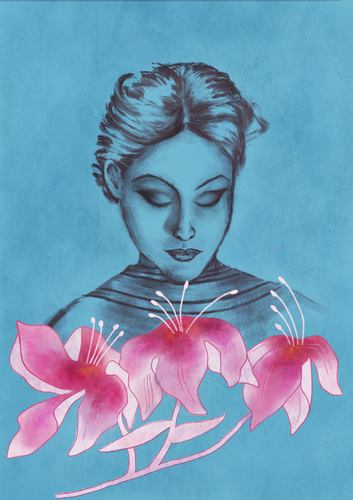 Cartoon: Three Flowers (medium) by alesza tagged three,flowers,pink,blue,portrait,woman