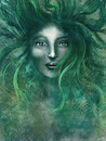 Cartoon: Bruja (small) by alesza tagged bruja witch painting digital art illustration girl woman green hair face