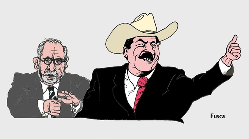 Cartoon: Golpist Zelaya follower Garcia (medium) by Fusca tagged latrocracy,bolivarian,latinamerican,chavist,golpist,corruption
