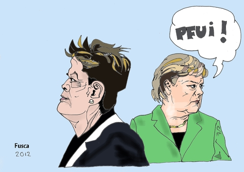 Cartoon: Rousseff and Merkel (medium) by Fusca tagged corruption,brazil,bolivarian,republic,populist,dictatorship