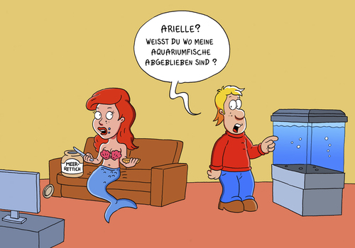 Cartoon: arielle die meerjungfrau (medium) by ChristianP tagged arielle,die,meerjungfrau,aquarium,the,mermaid