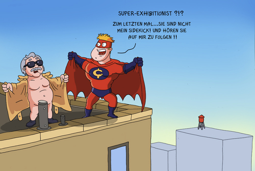 Cartoon: superexhibitionist (medium) by ChristianP tagged superexhibitionist