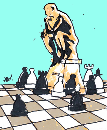 Cartoon: Untitled (medium) by Monica Zanet tagged zanet,free,chess,statue