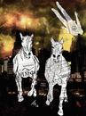 Cartoon: Urban horses (small) by Zoran Spasojevic tagged emailart digital collage graphics urban horses spasojevic zoran paske kragujevac serbia