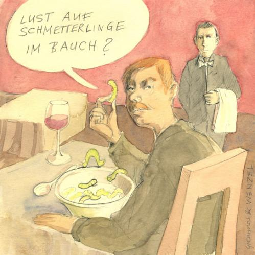 Cartoon: Schmetterlinge im Bauch (medium) by Christoph Gremmer tagged schmetterlinge,gastronomie,essen