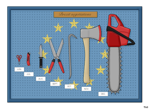 Cartoon: Brexit Negotiations (medium) by Tjeerd Royaards tagged uk,europe,eu,brexit,talks,talk,tools,european,union,brussels,future,uk,europe,eu,brexit,talks,talk,tools,european,union,brussels,future