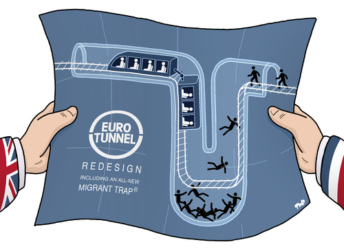 Cartoon: Eurotunnel Redesign (medium) by Tjeerd Royaards tagged migrants,calais,channel,eurotunnel,uk,france,immigrants,migrants,calais,channel,eurotunnel,uk,france,immigrants