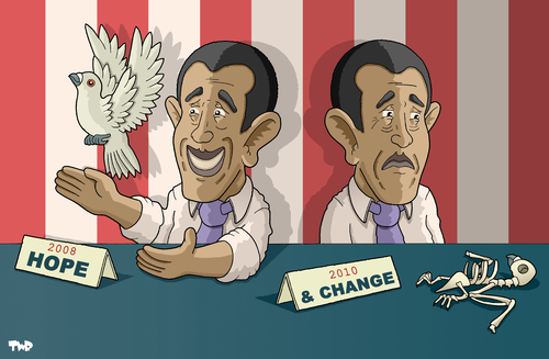 Cartoon: Hope and change (medium) by Tjeerd Royaards tagged usa,obama,president,poll,voters,hope,change,promises,elections,white,house,usa,barack obama,wahl,wahlen,versprechen,politiker,amerika,hoffnung,erwartungen,präsident,barack,obama