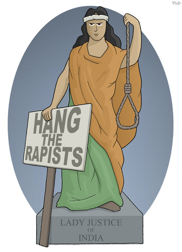 Cartoon: Lady Justice of India (medium) by Tjeerd Royaards tagged india,justice,rape,murder,delhi,bus,vistim,women,woman,cartoon,death,penalty,india,justice,rape,murder,delhi,bus,vistim,women,woman,cartoon,death,penalty