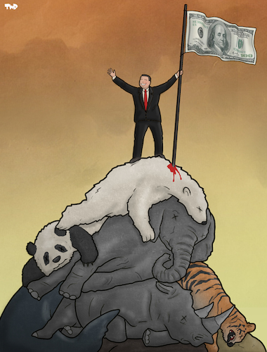 Cartoon: Man on Top (medium) by Tjeerd Royaards tagged nature,environment,extinction,eatch,man,human,profit,money,animals,nature,environment,extinction,eatch,man,human,profit,money,animals