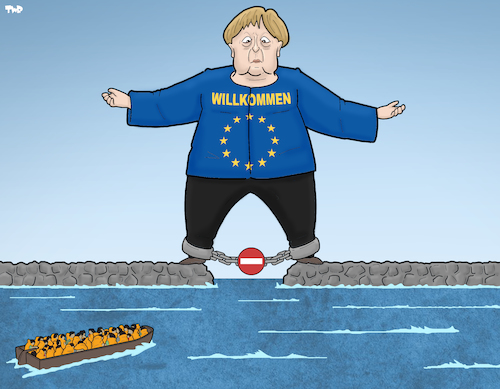Cartoon: Merkel and Migrants (medium) by Tjeerd Royaards tagged migration,eu,merkel,migration,eu,merkel