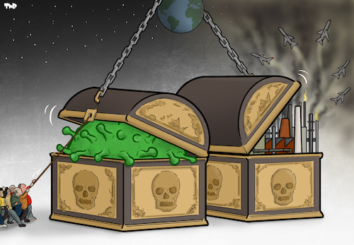 Cartoon: Pandoras Boxes (medium) by Tjeerd Royaards tagged coronavirus,pandemic,pollution,industry,economy,climate,change