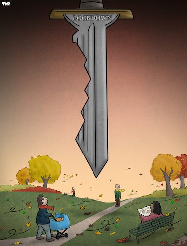Cartoon: Sword of Damocles (medium) by Tjeerd Royaards tagged corona,coronavirus,virus,pandemic,second,wave,lockdown,corona,coronavirus,virus,pandemic,second,wave,lockdown