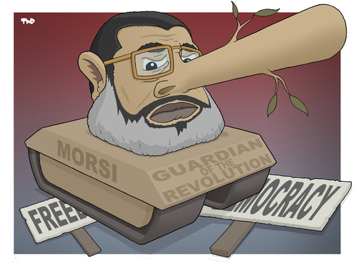 Cartoon: The Guardian of the Revolution (medium) by Tjeerd Royaards tagged egypt,morsi,dictator,democracy,opposition,muslim,brotherhood,freedom,the,egypt,morsi,dictator,democracy,opposition,muslim,brotherhood,freedom