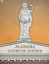 Cartoon: Alabama courthouse (small) by Tjeerd Royaards tagged pregnancy,justice,usa,woman,women,child,abortion,ban,law,forbidden