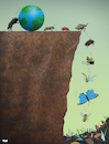 Cartoon: Insect Extinction (small) by Tjeerd Royaards tagged insects,insecticide,extinct,cliff,earth,bees,beetle
