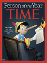 Cartoon: Person of the Year (small) by Tjeerd Royaards tagged trump,time,cover,pinnochio,lie,truth,fact