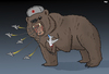 Cartoon: Russia Responds (small) by Tjeerd Royaards tagged russia,bear,metrojet,plane,crash,egypt,is,isis,bomb