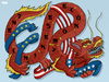 Cartoon: Superpower China (small) by Tjeerd Royaards tagged china,europe,usa,superpower,dragon,economy
