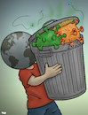 Cartoon: Taking out the trash (small) by Tjeerd Royaards tagged trash,trump,garbage,pandemic,coronavirus,virus,corona