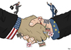 Cartoon: TTIP (small) by Tjeerd Royaards tagged trade,europe,eu,usa,america,free,protest,democracy,business,corporations,profit,economy