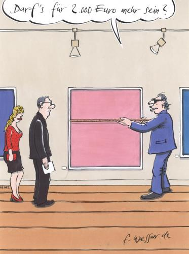 Cartoon: mehr kunst (medium) by woessner tagged kunst,handel,käufer,geld,galerie,kunst,handel,käufer,geld,galerie,gallerie,austellung,bild,gemälde,abmessung,kaufen,sammler,kunsthandel,kunstmesse,galerist,kunstauktion,manierismus,dekadenz,inspiration,kreativität,pop art,vernissage,pop,art