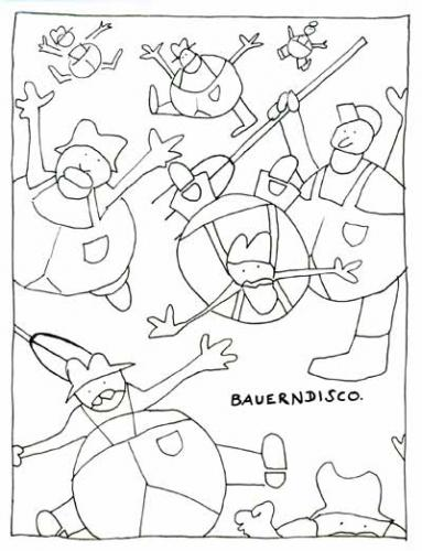 Cartoon: bauerndisco (medium) by armella tagged bauern,disco,mistgabel