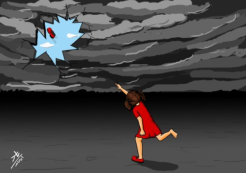 Cartoon: by shoes (medium) by yaserabohamed tagged girl,shoes,hit,sky,storm