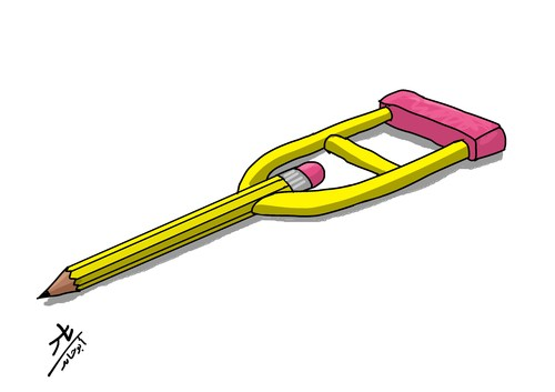 Cartoon: crutches (medium) by yaserabohamed tagged crutches,pencil