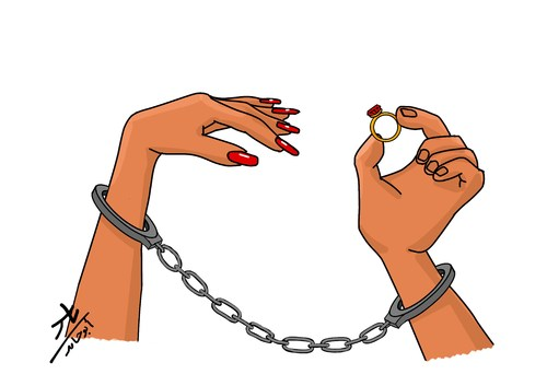 Cartoon: will you marry me (medium) by yaserabohamed tagged marry,ring,engagement,handcuff