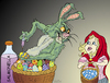 Cartoon: Bad bad Easter bunny (small) by VoBo tagged easter,bunny,eggs,girl,cartoon,comic,ostern,eier