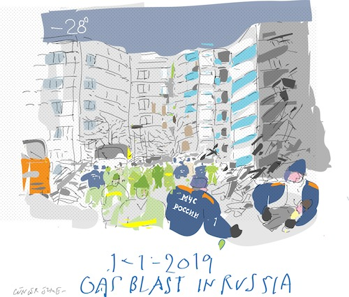 Cartoon: Gas Explotion (medium) by gungor tagged russia,block,flats,eastern,russia,new,year,deadly,gas explosion,mercury,under,zero,26,degrees,losing,home,handling,gas,local regulations,gas heating,winter,explosion,local,regulations,heating
