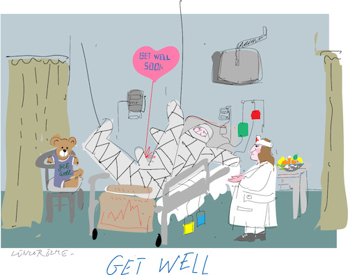 Cartoon: Get Well (medium) by gungor tagged health,health,emergency,hospital,doctors,nurses,geriatric section,geriatric,section