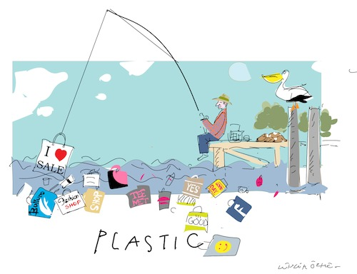 Cartoon: Plastic Pollution (medium) by gungor tagged world