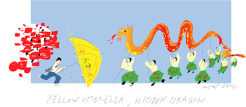 Cartoon: Yellow Umbrella (medium) by gungor tagged hong,kong,hong,kong