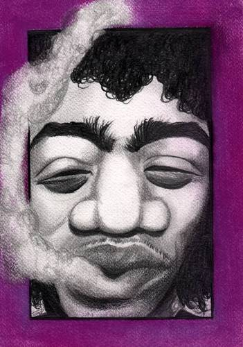 Cartoon: Jimi Hendrix (medium) by Tomek tagged purple,haze